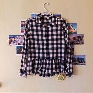 black and white flannel peplum shirt